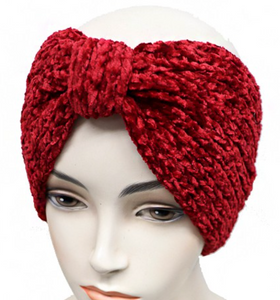 Velvet Ribbed Knit Ear Warmer -Red
