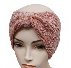Velvet Ribbed Knit Ear Warmer - Pink