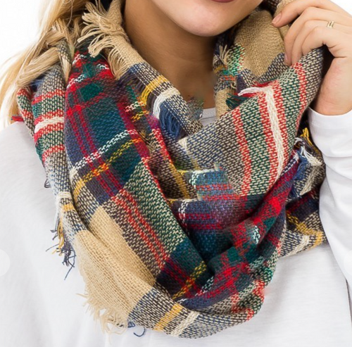 Plaid Infinity Scarf - Tan