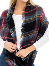 Load image into Gallery viewer, Plaid Infinity Scarf - Red