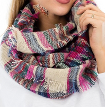 Load image into Gallery viewer, Plaid Infinity Scarf - Pink