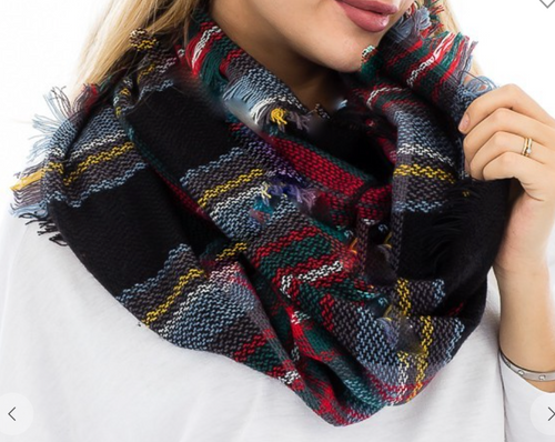 Plaid Infinity Scarf - Black