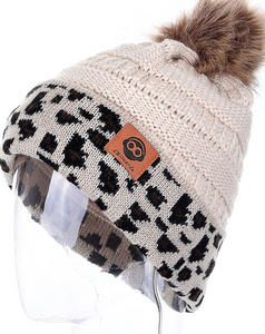 Faux Fur Lined Leopard Trim Beanie with Pom -Ivory