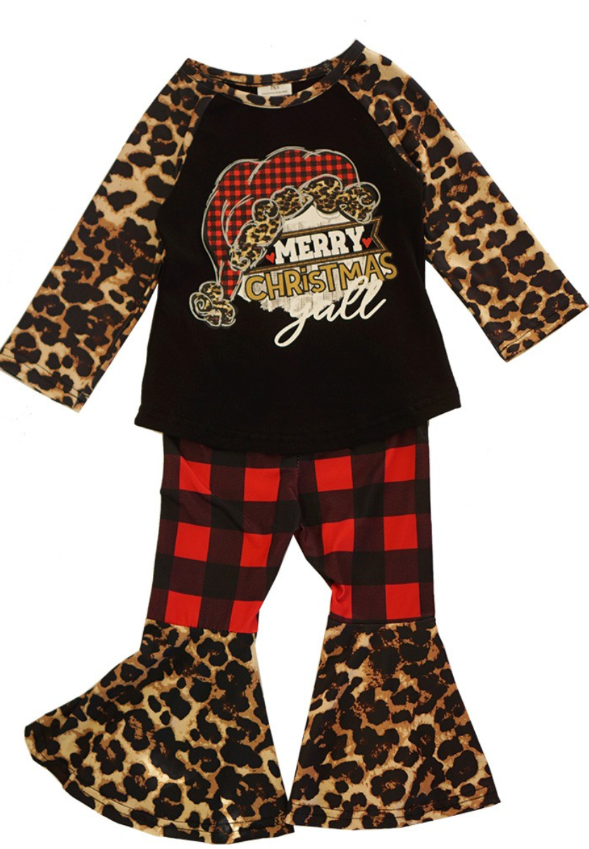 Girls Leopard/Buffalo Plaid Trumpet Pant