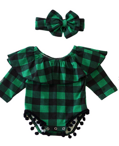 Baby Green and Black Plaid Onsie