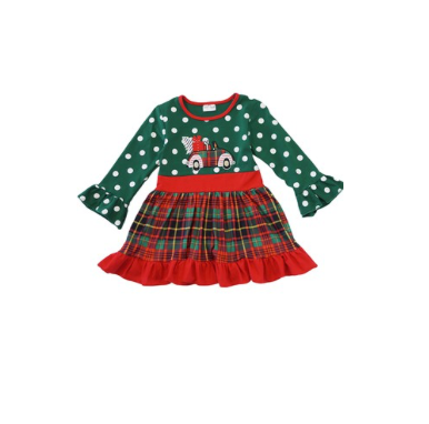 Christmas Tree Truck Dotty Dress