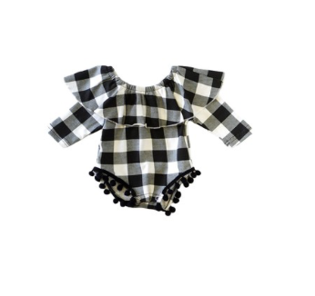 Baby Black and White Plaid Onsie