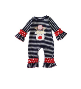 Baby Striped Reindeer Romper