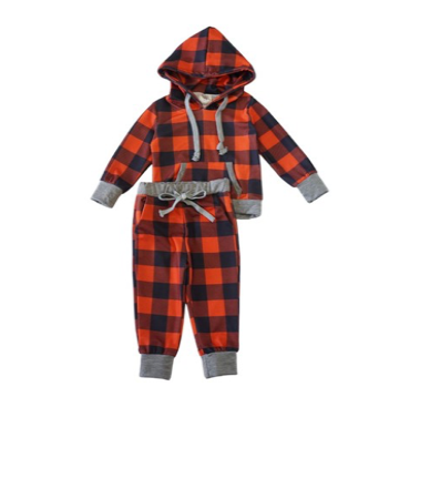 Kids Unisex Buffalo Plaid Sweat Pant