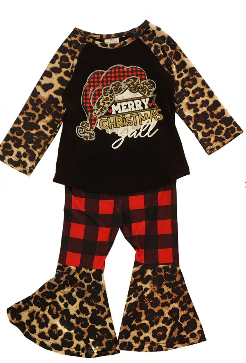 Girls Merry Christmas Y'all Leopard Santa Raglan