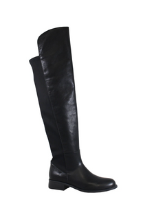 Over the Knee Boots - Black Faux Leather