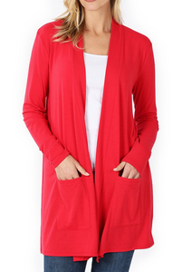 Basic Cardigan Ruby Red