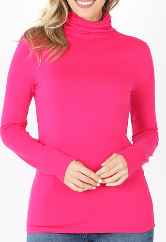 Basic Buttery Soft Turtle Neck - Pink