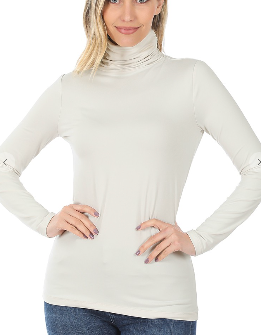 Basic Buttery Soft Turtle Neck - Bone