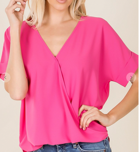 Wrap Style Work Blouse -Pink