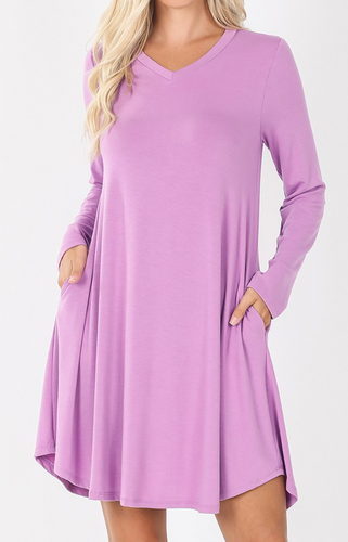 Basic Long Sleeve Swing Dress