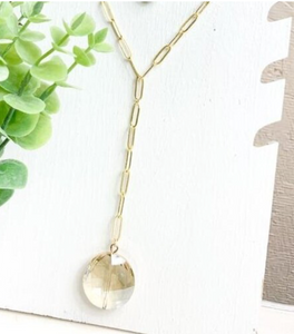 Long Link Y Stone  Necklace