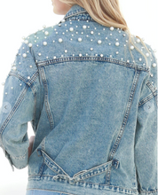 Load image into Gallery viewer, Pearled Jean Jacket