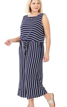 Load image into Gallery viewer, Curvy Gal Striped Jumpsuit - Navy