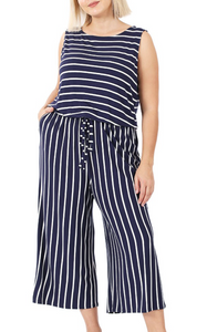 Curvy Gal Striped Jumpsuit - Navy