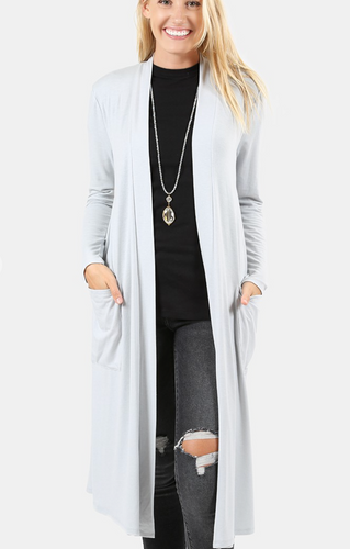 Longline Misty Grey Cardigan