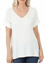 Load image into Gallery viewer, Basic Modal V-Neck T -Ivory