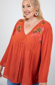 Curvy Gal Embroidered Tunic with Front Buttons and V Neck in Rust