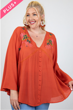 Load image into Gallery viewer, Curvy Gal Embroidered Tunic with Front Buttons and V Neck in Rust