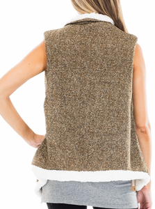 Herringbone Faux Fur Vest -Multiple Colors