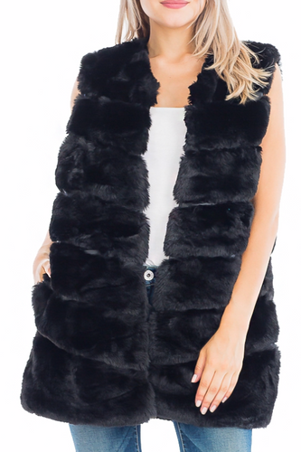 Lux Faux Fur Vest with Faux Leather Lining
