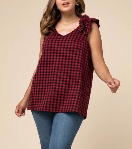 Curvy Gal Buffalo Plaid Holiday Top with Ruffled Sleeve