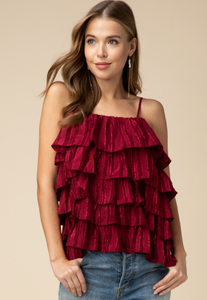 High Spirits Ruffled Layered Spaghetti Strap Top