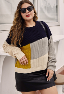 Navy and Gold Block Sweater