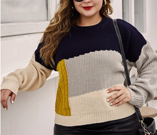 Load image into Gallery viewer, Navy and Gold Block Sweater