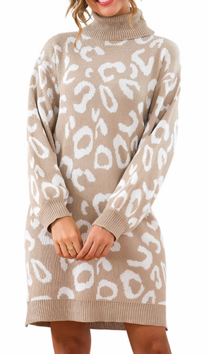 Cream Leopard Turtle Neck Sweater Dress