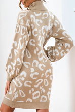 Load image into Gallery viewer, Cream Leopard Turtle Neck Sweater Dress