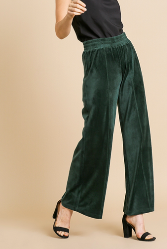 Green High Waisted Wide Leg Velvet Pant