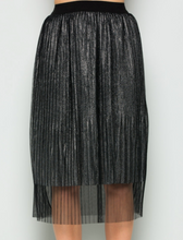 Load image into Gallery viewer, Gun Metal Metallic Pleated Layered Skirt