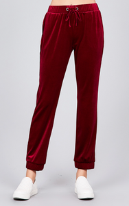Velvet Joggers in Red or Black