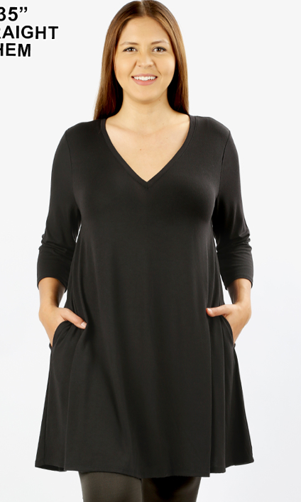 Curvy Gal Long Sleeve Swing Dress with V Neck