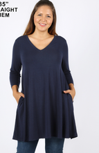 Load image into Gallery viewer, Curvy Gal Long Sleeve Swing Dress with V Neck