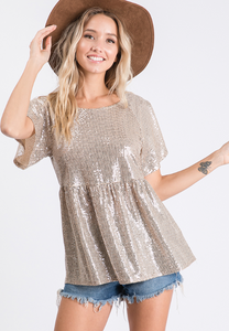 Sequin Peplum Blouse (in Gold and Black)