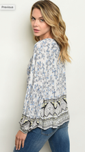 Load image into Gallery viewer, Navy Floral Blouse With Boarder Light Blue Detail