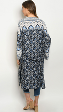 Load image into Gallery viewer, Navy Floral Kimono With Light Blue Boarder Details