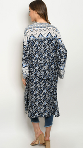 Navy Floral Kimono With Light Blue Boarder Details