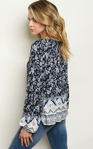 Navy Floral Blouse With Boarder Light Blue Detail