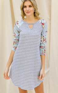Floral and Striped Raglan T-Shirt Dress with Pockets