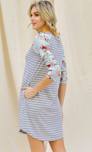 Load image into Gallery viewer, Floral and Striped Raglan T-Shirt Dress with Pockets