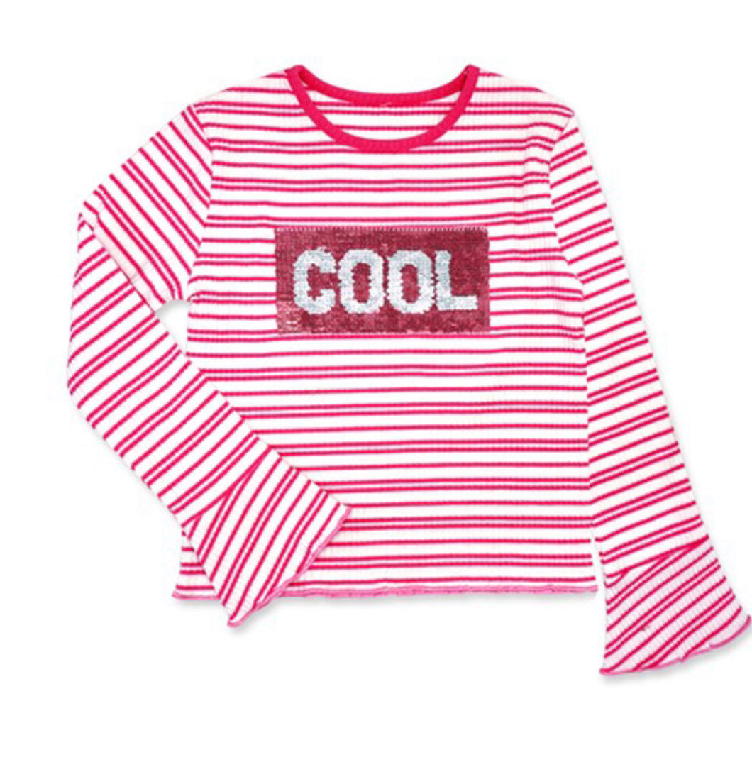 Cool Girls Striped Top w/Sequins