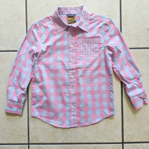 Boys Spring Long Sleeve Button Up-Pink